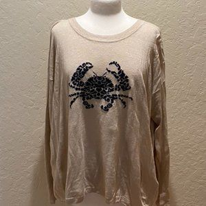 NWOT J Crew tan linen sweater with navy crab Sz XL